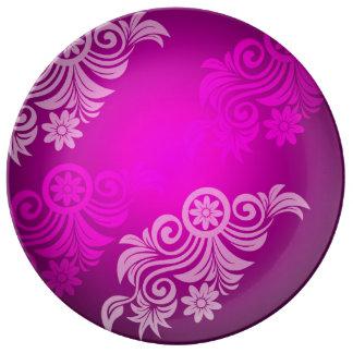 Assiette porcelaine floral  de couleur (violet)