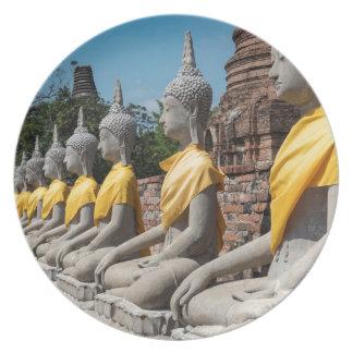 Assiette Rangée des statues de Bouddha, Ayutthaya,