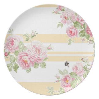 Assiette Rayure de renoncule de roses d'été de jour de mai