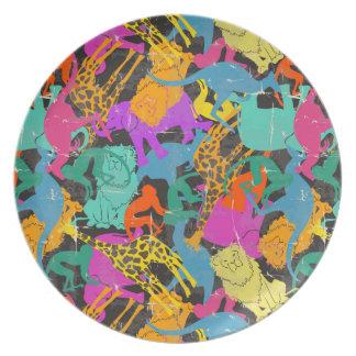 Assiette Rétro motif animal de silhouettes