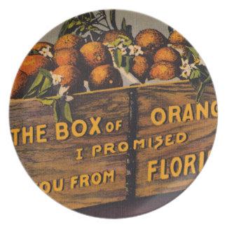 Assiette Rétros oranges vintages de la Floride