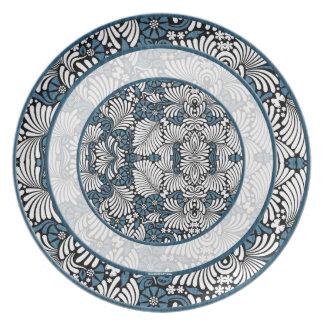 Assiette Ronds de copie bleue et blanche de fougère