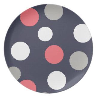 Assiette Rose de corail de blanc gris de motif de cercles