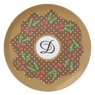Assiette Rouge de beignet de Noël de houx + Le vert arrose