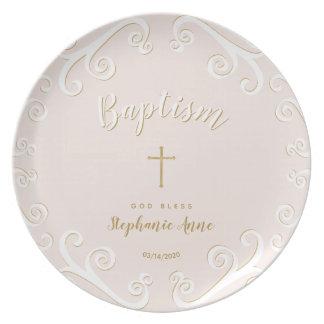 Assiette Rouleaux de baptême en rose et or