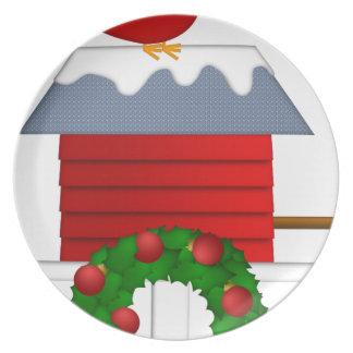 Assiette Séance cardinale rouge de Noël sur la volière