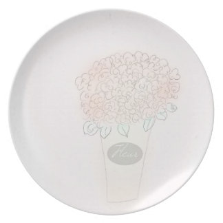 Assiette Seau complètement de plat de fleur