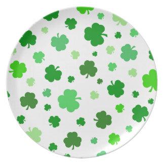 Assiette Shamrocks irlandais verts
