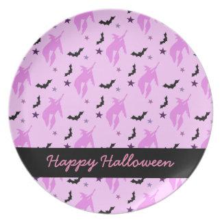 Assiette Sorcière et chauves-souris roses Halloween Girly