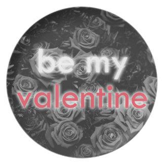 Assiette Soyez mon bouquet rose de Valentine sur noir et