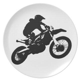 Assiette Sport blanc noir de Motorcyle de motocross d'art