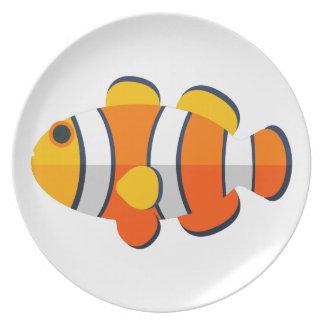Assiette Style de primitif de poissons de clown