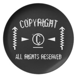 Assiette Symbole de Copyright tous droits réservés avec des