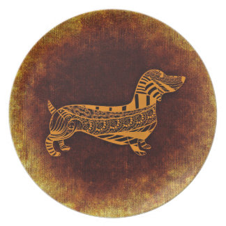 Assiette Teckel décoratif abstrait