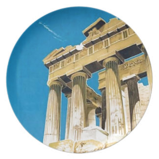 Assiette Temple vintage de parthenon d'Athènes Grèce de
