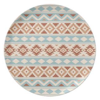 Assiette Terres cuites bleues crèmes aztèques de Ptn IIIb
