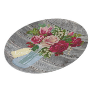 Assiette Thème rose de pays de pot de maçon de bouquet