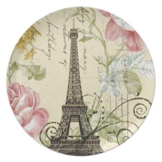 Assiette Tour Eiffel vintage floral chic Girly de Paris