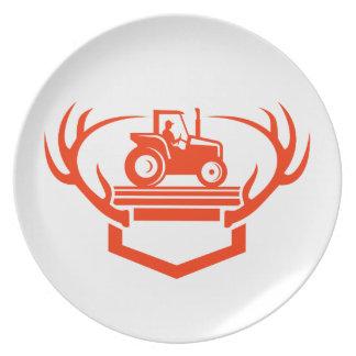 Assiette Tracteur d'Antler de cerfs communs de queue