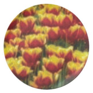 Assiette tulipes rouges jaunes