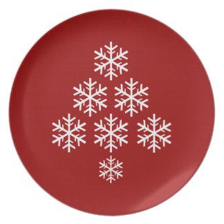 Assiette Vacances de ~ d'arbre de Noël de flocon de neige