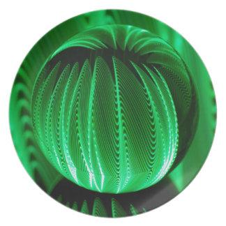 Assiette Vagues vertes dans la boule en verre