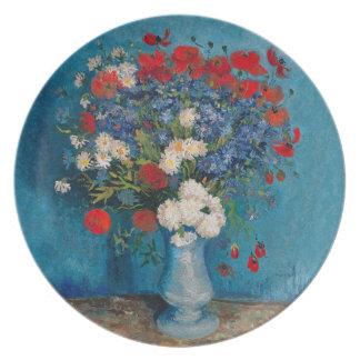 Assiette Van Gogh et fleur d'Elizabeth - dessert et diner