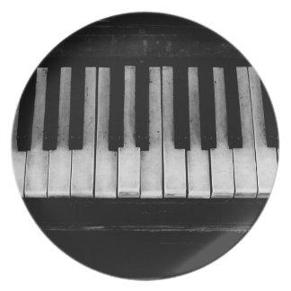 Assiette Vieille musique d'instrument de clavier de piano à