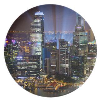 Assiette Ville du centre de Singapour la nuit
