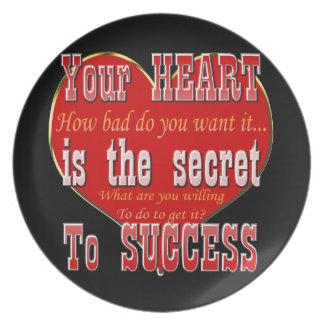 Assiette Votre coeur est le secret au succès