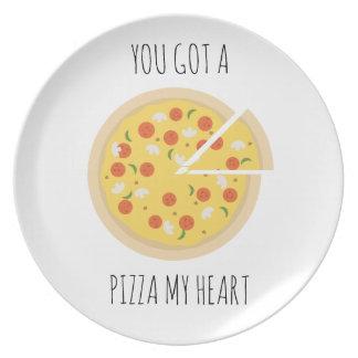 Assiette Vous avez obtenu à une pizza mon plat de valentine