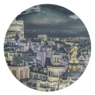 Assiette Vue aérienne de scène de nuit de paysage urbain de