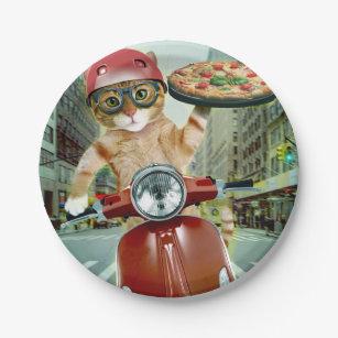 Assiettes En Carton chat de pizza - chat - la livraison de pizza