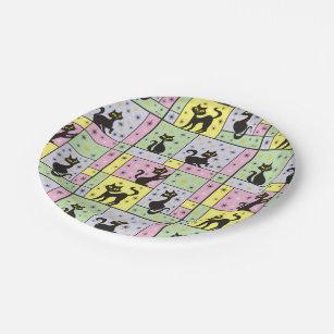 Assiettes En Carton Composition avec 5 chats noirs