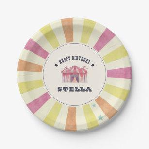 Assiettes En Carton Fête d'anniversaire personnalisée par cirque