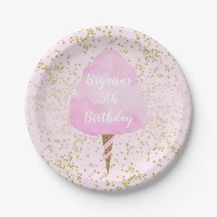 Assiettes En Carton Fête d'anniversaire rose de confettis de sucrerie