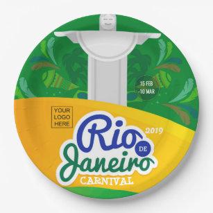 Assiettes En Carton La coutume de carnaval de Rio de Janeiro ajoutent