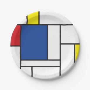 Assiettes En Carton L'Art Moderne Mondrialiste Minimaliste Géométriq