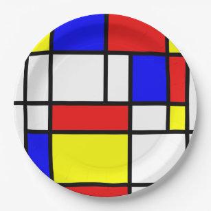 Assiettes En Carton Mondrian a inspiré