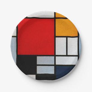 Assiettes En Carton Mondrian - Composition avec grand plan rouge