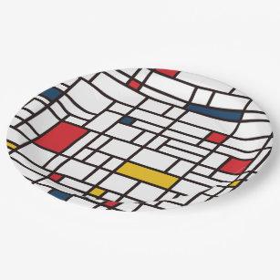 Assiettes En Carton Mondrian de Stijl
