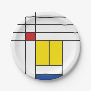 Assiettes En Carton Mondrian II Minimaliste De Stijl Art Moderne