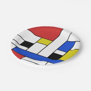 """Assiettes En Carton Mondrian raye les plaques à papier 7"""""""