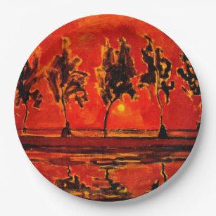 Assiettes En Carton Piet Mondrian art, Les arbres de la Géine à Lune