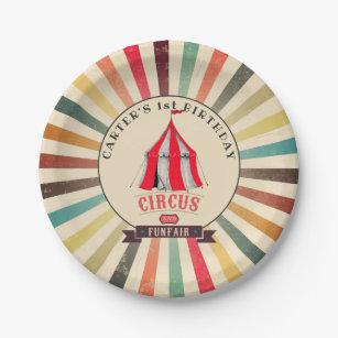 Assiettes En Carton Plat de partie personnalisé par cirque vintage