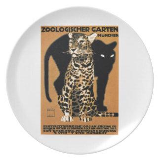 Assiettes En Mélamine Affiche 1912 de zoo de Munich de léopard de Ludwig
