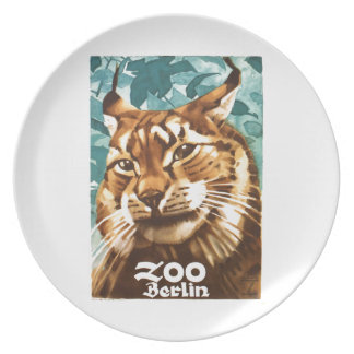 Assiettes En Mélamine Affiche 1930 de Lynx de zoo de Ludwig Hohlwein