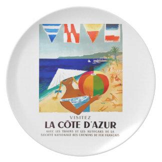 Assiettes En Mélamine Affiche 1957 de voyage de Français de Cote d'Azur