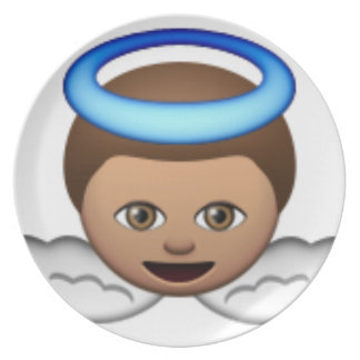 Assiettes En Mélamine amour de halo d'emoji d'ange de bébé