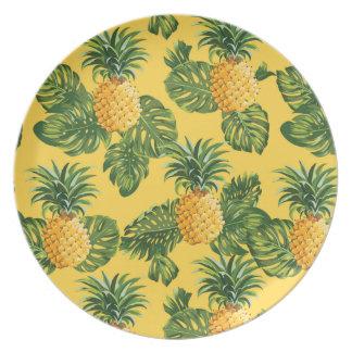 Assiettes En Mélamine Ananas et feuille tropical sur l'or
